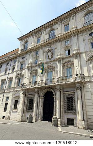 facade of embassy of brazil in piazza navona rome italy