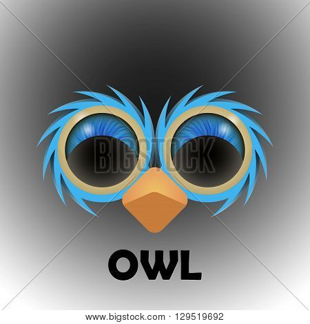 Eyes of a owl in the darkness. Vector