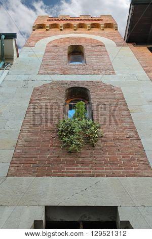 Facade of old building with decorative plants in city centre. Viareggio Italy