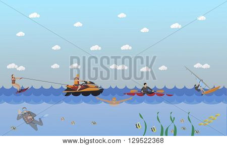 Water sport concept. Horizontal vector banner. Flat cartoon illustration. Water ski, kayaking, diving