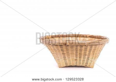 Empty Bamboo Basket Handmade Isolated On White