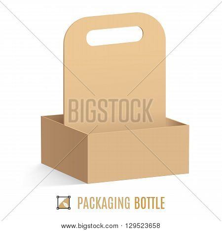 Cardboard packaging for bottles isolated on a white background