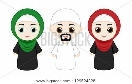 Set of cartoon people with hijabs isolated on white background. Vector illustration.