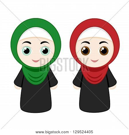 Set of cartoon girls with hijabs isolated on white background. Vector illustration.