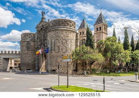 TOLEDO,SPAIN - APRIL 23,2016 - Gate of Alfonso VI (Puerta de Alfonso VI) in Toledo. .Toledo is a municipality located in central Spain.