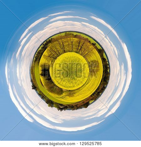 Little Planet Of Beautiful Summer Rural Landscape