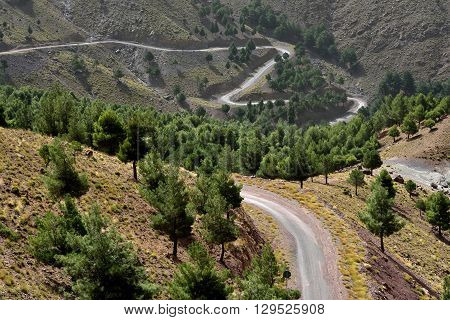 Winding road in the Atlas Mountains, Morocco