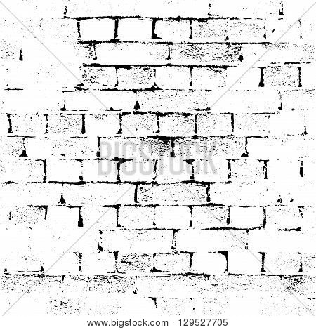 Brick Wall silhouette pattern. Noisy white print. Vintage style with detail grunge. Monochrome retro scratch background. Texture for poster fabric background and different print production. Vector