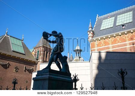 Amsterdam Holland - July 23 2014: The statue of a discus thrower in the Rijksmuseum courtyard