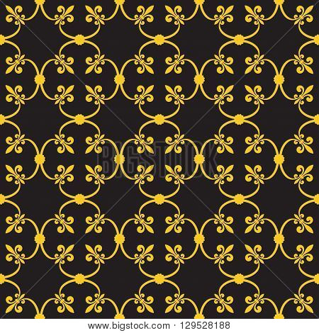 Forged seamless pattern of gold fleur-de-lis on a gray background. Openwork metal fence design. Modern style for wallpaper wrapping fabric background apparel other print production. Vector