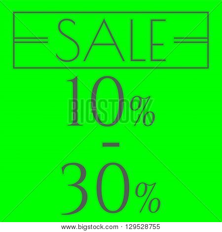 Sale discount labels. Special offer price signs. 10 - 30 percent off reduction symbol.