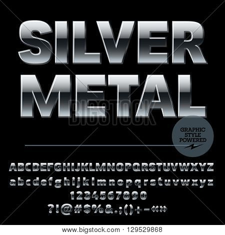 Vector set of luxury silver alphabet letters, numbers and punctuation symbols. Compact ultra bold style