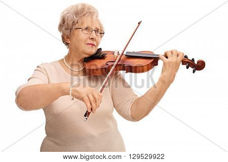 Mature woman playing acoustic violin isolated on white background
