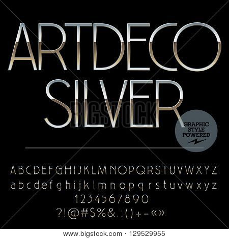 Vector set of perfect silver alphabet letters, numbers and punctuation symbols. Art Deco slim style