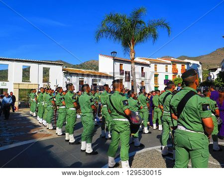 Alora Spain March 25 2016: Parachute Regiment soldiers taking part in Easter processions. Alora Spain March 25 2016