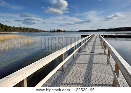 Lake Plateliai in Zemaitija National Park, Samogitia, Plateliai, Lithuania. Lake Plateliai is 9th biggest in Lithuania.