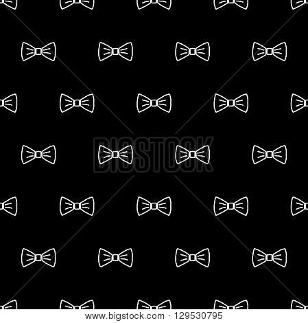 Bow tie seamless pattern. Fashion graphic background design. Modern stylish texture with bow-tie. Monochrome template. Can be used for prints textiles wrapping wallpaper website blog etc. VECTOR