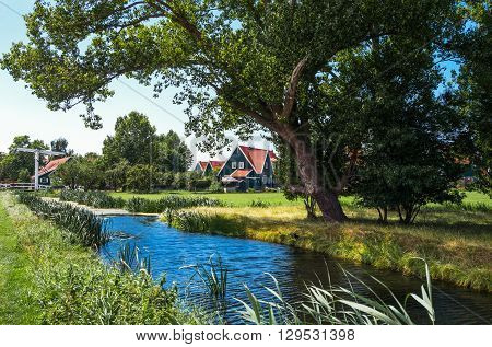 Holland Waterland district Marken typical country houses near the village.