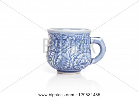 Close Up Blue Ceramic Cup Isolated On White
