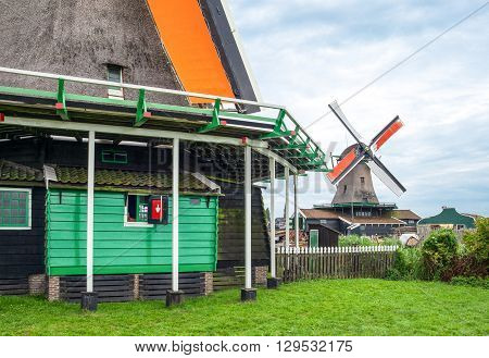 Holland Waterland district Zaandam typical houses and molls