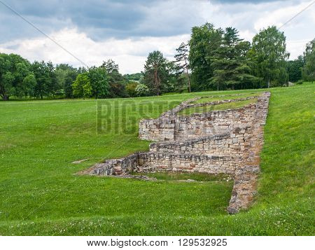 War Memorial Lidice - remains of building foundations, Czech Republic