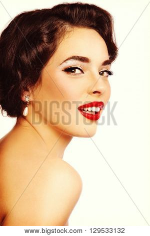 Portrait of young beautiful sexy smiling woman with glamorous make-up and hairstyle, on white background