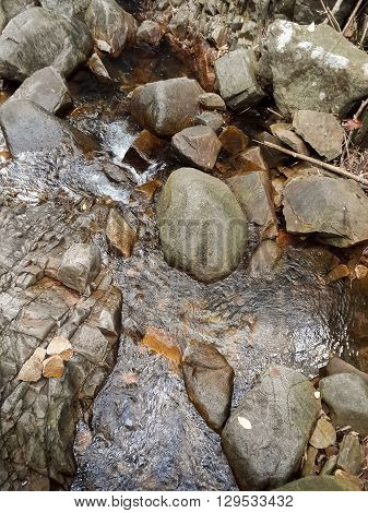 stone and brook in waterfall country Nakhonnayok Thailand