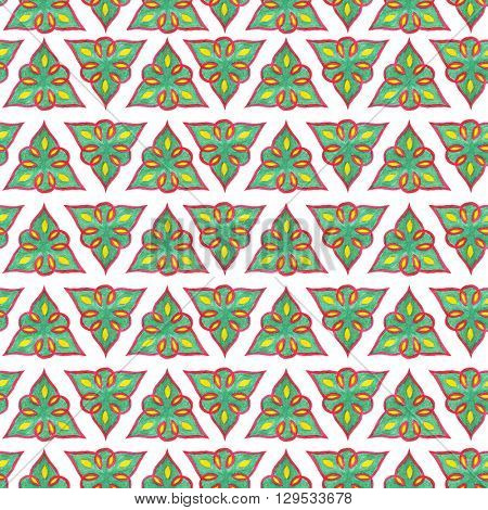 Seamless pattern in oriental style. Tatar pattern. Watercolor isolated illustration with green triangles