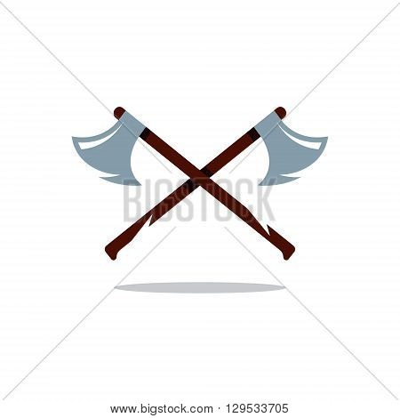 Two Axes with wooden Handles Isolated on a White Background