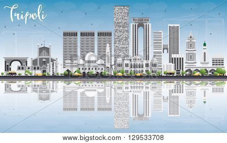 Tripoli Skyline with Gray Buildings, Blue Sky and Reflections. Business Travel and Tourism Concept with Historic Buildings. Image for Presentation Banner Placard and Web.