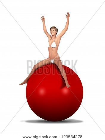 3d illustration of a woman in underwear sitting on a giant red fitness ball.