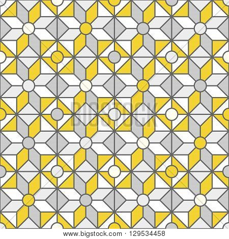 Stained-glass window pattern with simple geometric shapes. Abstract geometric pattern. Vector pattern with diamond shapes and triangles. Seamless abstract background. Grey and yellow colors.