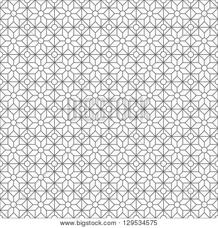 Simple pattern with geometric shapes black and white. Abstract geometric pattern. Vector pattern with diamond shapes and triangles. Seamless abstract background.