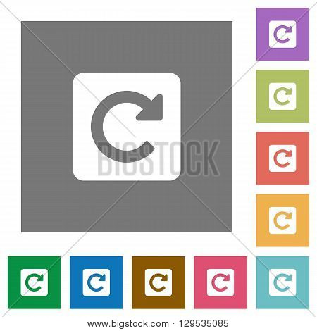 Rotate right flat icon set on color square background.
