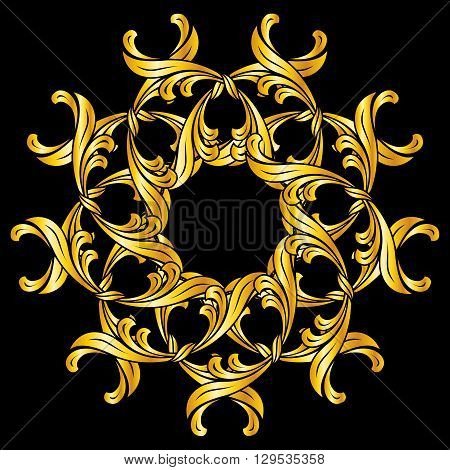 Ornate florid pattern in gold colors on black background