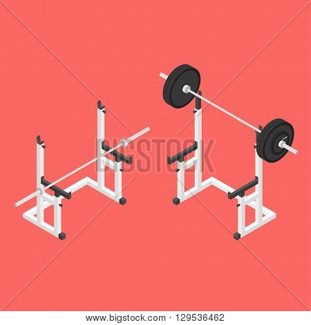 Barbell squat stand. Power rack. Holder bench for barbell. Isometric vector illustration