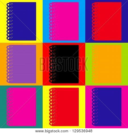 Notebook simple icon. Pop-art style colorful icons set.