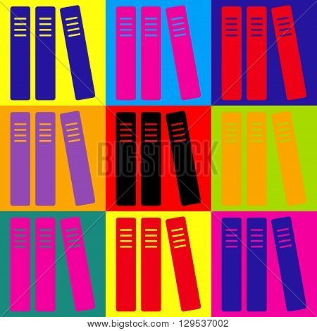 Row of binders, office folders icon. Pop-art style colorful icons set.