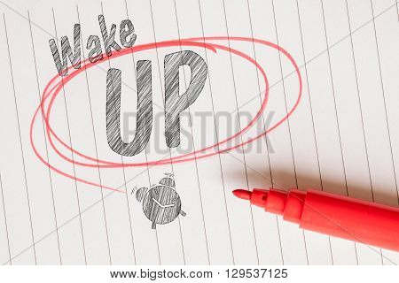 Wake Up Memo With A Red Brushed Circle