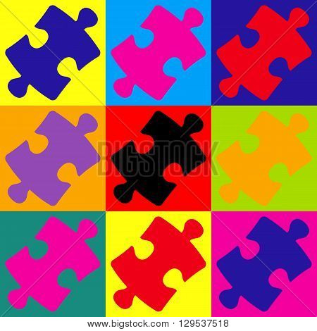Puzzle piece flat icon. Pop-art style colorful icons set.
