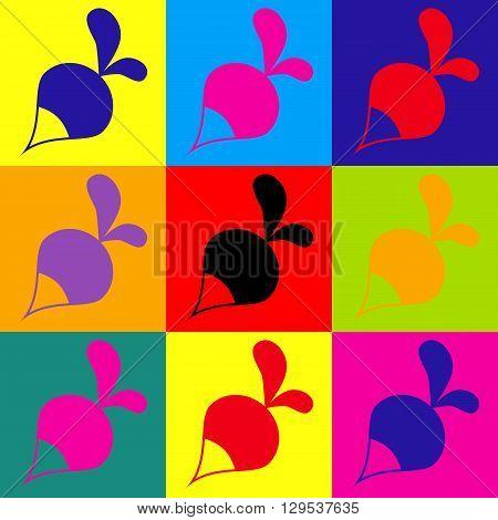 Radish simple icon. Pop-art style colorful icons set.