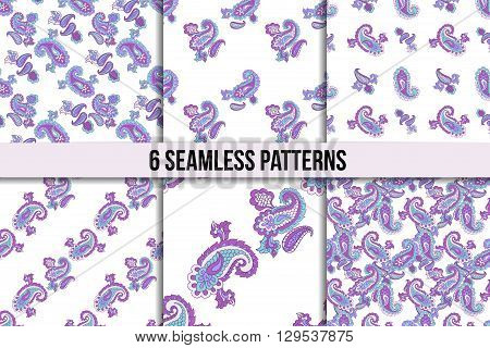 Seamless paisley pattern set. Asian paisley, six abstract vector backgrounds