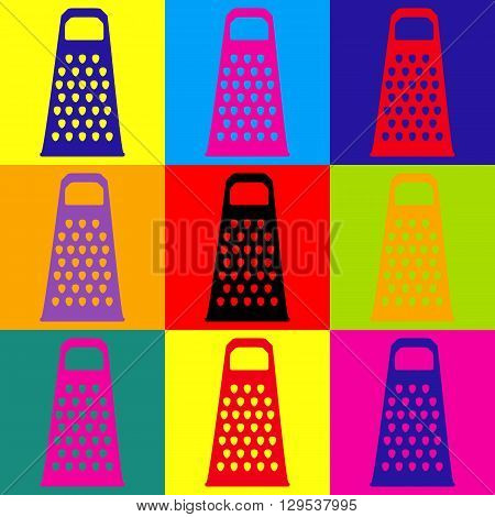 Cheese grater icon. Pop-art style colorful icons set.