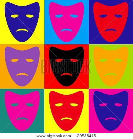 Tragedy theatrical masks. Pop-art style colorful icons set.