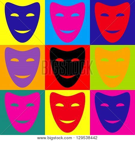 Comedy theatrical masks. Pop-art style colorful icons set.