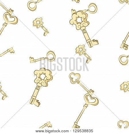 Seamless keys pattern. Gold vintage keys on white background