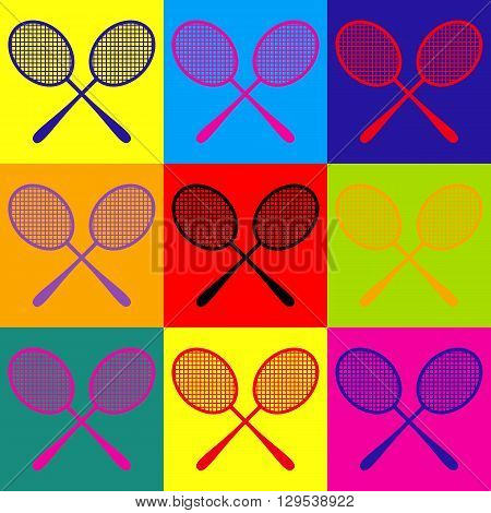Tennis racquets icon. Pop-art style colorful icons set.