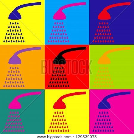 Shower simple icon. Pop-art style colorful icons set.