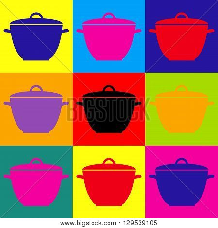 Saucepan simple Icon. Pop-art style colorful icons set.