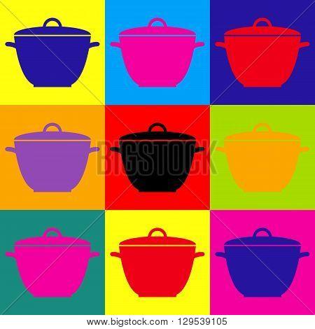 Saucepan simple Icon. Pop-art style colorful icons set.